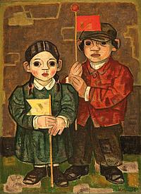 Arthur Kolnik 1890-1972 (Lithuanian) Children with flags oil on board