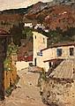 **Marie-Mela Muter 1876-1967 (Polish, French) Village scene oil on cardboard