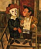 Arthur Kolnik 1890-1972 (Lithuanian) Purim spiel oil on canvas