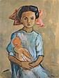 Meir Axelrod 1902-1970 (Russian) Young girl with doll, 1948 watercolor and gouache on paper