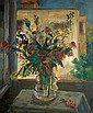 Leo Kahn 1894-1983 (Israeli) Vase of flowers oil on canvas