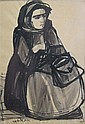 Ruth Schloss b.1922-2013 (Israeli) Arab woman india ink on paper