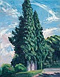 Shalom Flash b. 1948 (Israeli) Cypress tree, 2008 oil on canvas