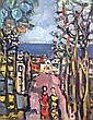 Yaacov Wexler 1912-1995 (Israeli) Figures in a village landscape oil on canvas