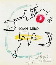 Joan Miró 1893-1983 (Spanish) Soleil d`Octobre mixed media and gouache on frontispiece of book Miró, Meaght Edituer, Paris, 1965