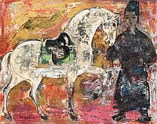 **Vu Cao Dam 1908-2000 (Vietnamese, French) Palefrenier et son cheval, 1963 mixed media on cardboard