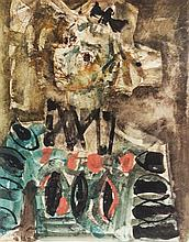 **Paul Aizpiri b.1919 (French) Maquette de petrouchka dans la sauvage apprivoisée mixed media on paper mounted on cardboard
