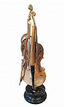 **Arman 1928-2005 (French, American) Violon pizzaiola, 2004 bronze with gold patina on black marble base, Trewell editor
