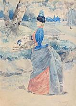 **Henry Somm 1844-1907 (French) Elégante à l'éventail watercolor on paper