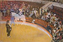 **Charles Dufresne 1876-1938 (French) Le cirque pastel crayons on cardboard