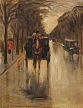 Lesser Ury 1861-1931 (German) Berlin street scene oil on canvas