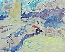 Louis Valtat 1869-1952 (French) Landscape with figure watercolor and charcoal on paper