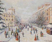 **Hugues Claude Pissarro b.1935 (French) Avenue de la Gare in snow, Rennes oil on canvas