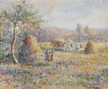 **Hugues Claude Pissarro b.1935 (French) Le foins à la Faverie, 1990 oil on canvas