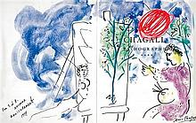 **Marc Chagall 1887-1985 (Russian, French) Peintre et son chevalet, 1974 tempera, Chinese ink and pastel crayons on frontispiece of bo.