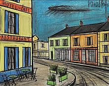 **Bernard Buffet 1928-1999 (French) Hotel, Café, Restaurant oil on panel