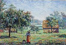 **Hugues Claude Pissarro b.1935 (French) Fermière aux comes à lait pastel crayons on paper
