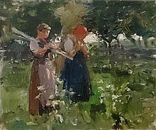 **Attributed to Max Liebermann 1847-1935 (German) Two peasants oil on cardboard