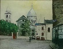 **Marius Jean Gardon b. 1914 (French) Le Sacré Coeur et l'église, 1956 oil on panel
