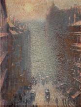 **French Impressionist School 19th-20th century Busy street in the raising sun oil on panel
