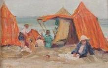 **French School 20th century Seaside scene oil on panel