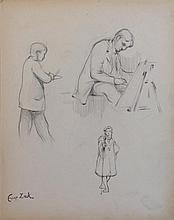 **Eugène Zak 1884-1926 (Polish) Atelier Gérôme aux Beaux-arts, 1902 pencil (graphite) on paper