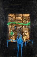 **Igael Tumarkin b.1933 (Israeli) Urim ve-tumim (Orage) mixed media on paper mounted on mazonite