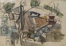 Hana Levy b.1950 (Israeli) Abstract mixed media on paper