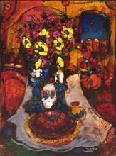 Touvia b.1980 (Israeli) Shabbat oil and mixed media on canvas