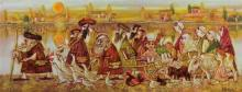 Ina Belous b. 1960 (Israeli) Aliya to Jerusalem mixed media on canvas