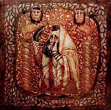 Ina Belous b. 1960 (Ukranian, Israeli) Rosh Hashana oil and mixed media on canvas