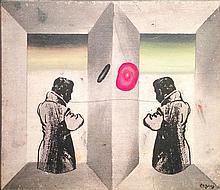 Oded Feingersh b. 1938 (Israeli) Figures mixed media on canvas mounted on cardboard
