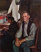 **Jules Adler 1865-1952 (French) Portrait of a seated man oil on canvas