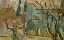 Leo Kahn 1894-1983 (Israeli) Landscape watercolor on paper