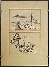Shmuel Tepler 1918-1998 (Israeli) 2 drawings, Port ink on paper