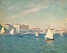 Arnold Borisovich Lakhovsky 1880-1937 (Russian) View of Venice oil on board