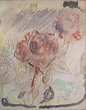 Yehezkel Streichman 1906-1993 (Israeli) Rose, 1979 watercolor and colored crayons on paper