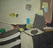 Shmuel Tepler 1918-1998 (Israeli) Still life oil on cardboard