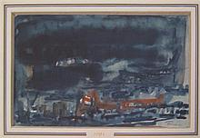 Ephraim Roeytenberg Fima 1916-2005 (Israeli) Abstract watercolor on paper
