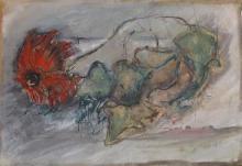 Haya Alperowitz (Israeli) Red flower watercolor on paper