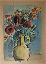 David Hendler 1904-1984 (Israeli) Vae of flowers watercolor on paper