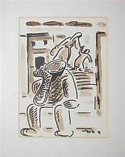 David Hendler 1904-1984 (Israeli) Lot includes 2 drawings in different subjects and sizes watercolor on paper