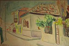 Shimshon Holzman 1907-1986 (Israeli) Houses watercolor on paper