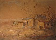 Shmuel Ovadiahu 1892-1963 (Israeli) House in landscape watercolor on paper