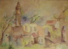Unidentified Israeli artist Landscape watercolor on paper