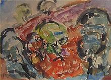Hana Levi b. 1950 (Israeli) Abstract watercolor on paper