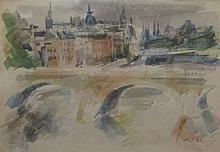 Zvi Tadmor b.1923 (Israeli) Bridge watercolor on paper