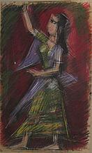 Arieh Lubin 1897-1980 (Israeli) Woman pastel crayons on paper