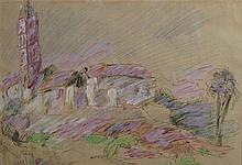 Arieh Lubin 1897-1980 (Israeli) Landscape mixed media on paper