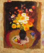 Unidentified Russian Artist 20th century Vase of flowers mixed media on canvas